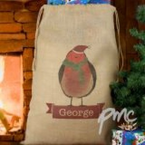 Personalised Robin Hessian Sack