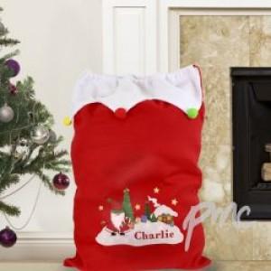Personalised Tartan Santa Pom Pom Sack