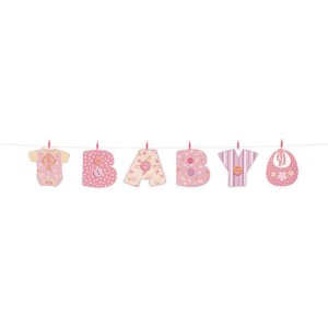 A Baby Girl Stitchings Clothes Line Banner