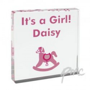 Personalised Pink Rocking Horse Small Crystal Token