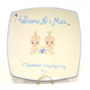Twin Baby Personalised Plate