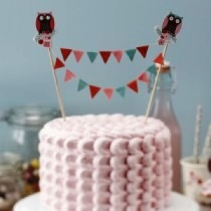 LITTLE HOOTS BUNTING CAKE TOPPER