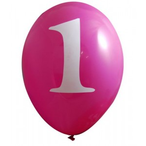 Pack of 6 Pink 1st Birthday Balloons
