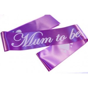 A Mum To Be Satin Sash Purple/White
