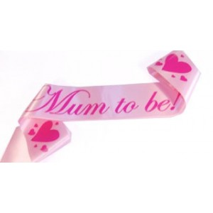 A Mum To Be Satin Sash Pastel Pink/Pink