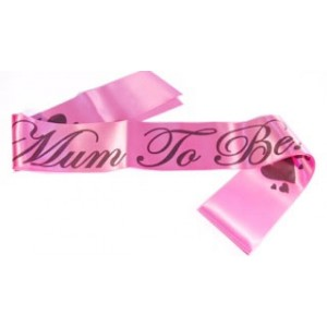 A Mum To Be Satin Sash Hot Pink/Black