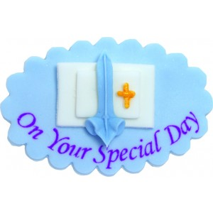 Blue Christening Special Day Cake Decoration