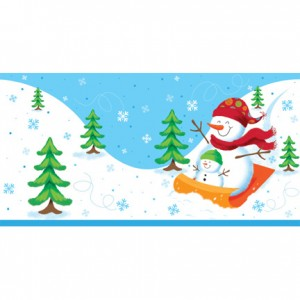Sledging Snowman Large Tablecover