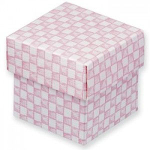 1 Pink & White Gingham DIY Favour Box with Lid