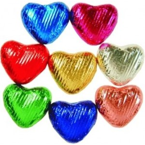 Heart Shaped Chocolate in Coloured Foil