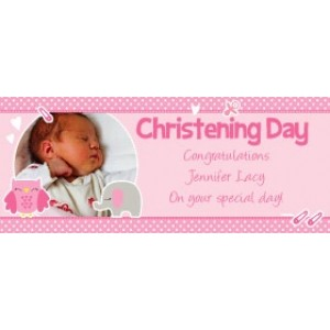 Sweet Baby Elephant Giant Personalised Banner with Owl and baby elephant