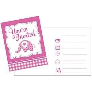SWEET BABY GIRL ELEPHANT Invitations x 8