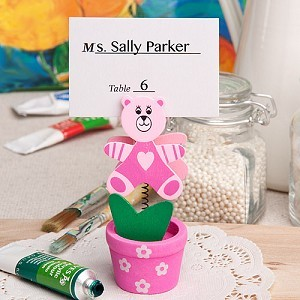 A Pink Flower Pot Teddy Place Card/Photo Holder