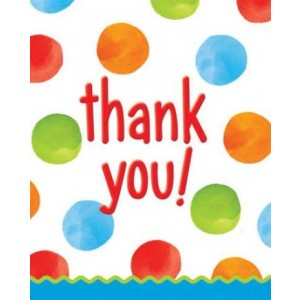 1st Birthday Boy Dots Thank You Cards