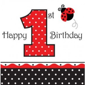 A Pack of 1st Birthday Ladybird Napkins