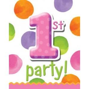 1st Birthday Girl Dots Invitation