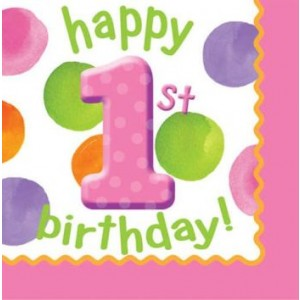 1st Birthday Girl Dots Napkins