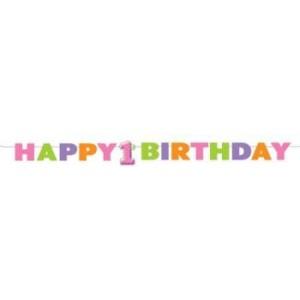 1st Birthday Girl Dots Foam Banner