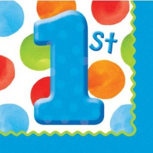 1st Birthday Boy Dots Napkins