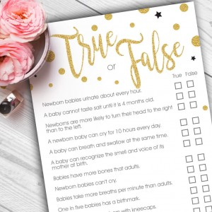 True and False? baby shower game