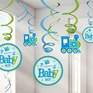 Welcome Baby Boy Hanging Swirl Decorations