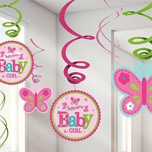 Welcome Baby Girl Hanging Swirl Decoration