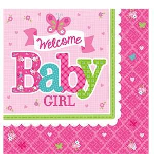 Welcome Baby Girl Napkins