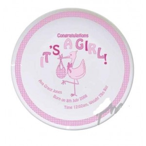 Personalised Stork It's a Girl Plate