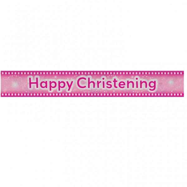 Happy Christening Pink Foil Banner - 12ft