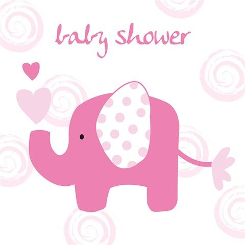 Pink Elephant Baby Shower Greeting Card