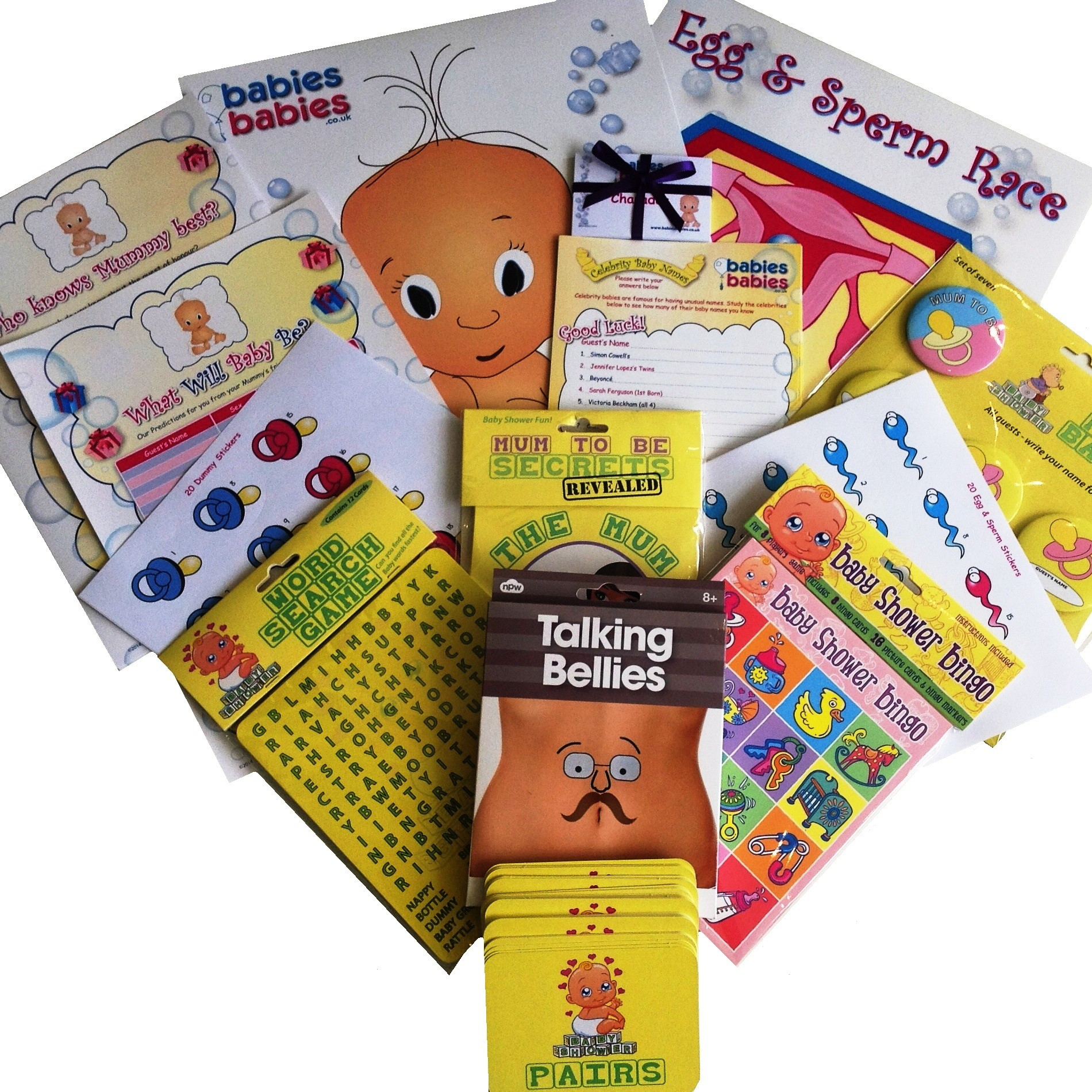 Deluxe baby shower games pack baby shower packs baby for Baby shower decoration packs