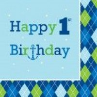 A Pack of 16 Ocean Boy 1st Birthday Napkins
