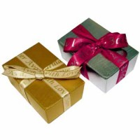 Gold & Silver Boxes of Chocolates with Personalised Ribbon