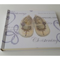 Christening Day Shoe Design Signing Book with Diamantes
