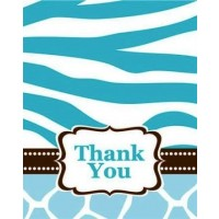 A Blue Wild Safari Thank You Card