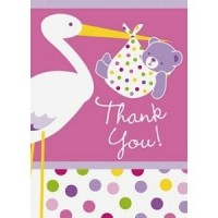 Baby Girl Stork Thank You Cards