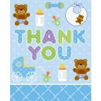Blue Teddy Bear Thank You Card