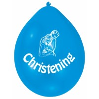 blue christening celebration balloons