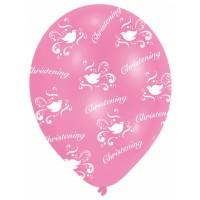 6 Pink & White Christening Latex Balloons