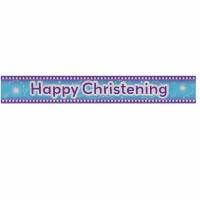 blue happy christening foil banner