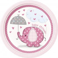 Girl Umbrellaphants Pack of 8 Plates