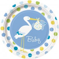 Baby Boy Stork Plates