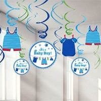 Baby Boy Clothes Line Hanging Swirls