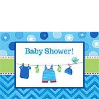 Baby Boy Clothes Line Invitations and Envelopes