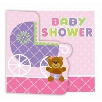 Baby Pink Teddy Bear Baby Shower Invitation