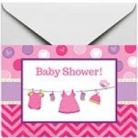 Baby Girl Clothes Line Invites