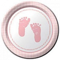 A Baby Girl Plaid Pack of Plates