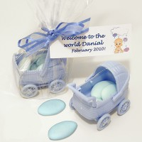 A Blue Carriage Favour with Personalised Label