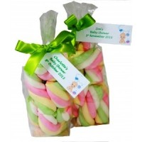 Bag of rainbow twist Marshmallows with Personalised Label