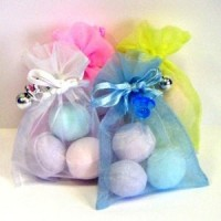 Trio of Bath Bombs in Shimmery Organza Bags with Charm